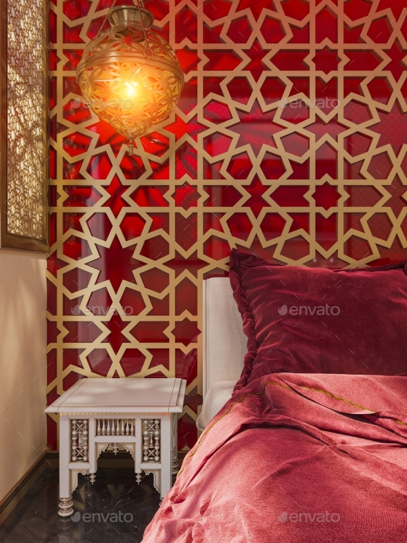 GraphicRiver 3D Render Bedroom Islamic Style Interior Design 20242659