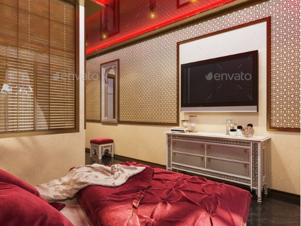 GraphicRiver 3D Render Bedroom Islamic Style Interior Design 20242665