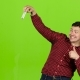 Man Makes a Cheerful Self and Shows a Thumbs Up. Green Screen