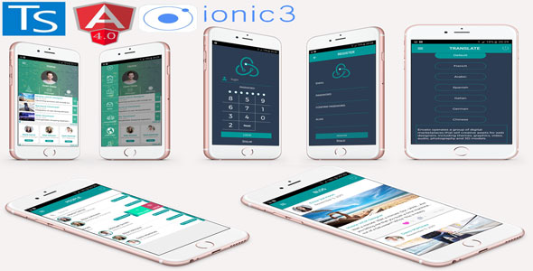 Ionic 3 native mobile app UI responsive. Full Ionic 3 / Angular 4 new features.
