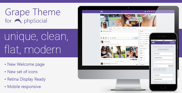 Grape Theme for phpSocial - CodeCanyon Item for Sale