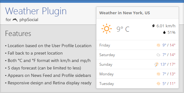 Weather Plugin for phpSocial - CodeCanyon Item for Sale
