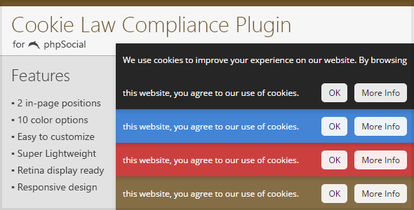 Cookie Law Compliance Plugin for phpSocial - CodeCanyon Item for Sale