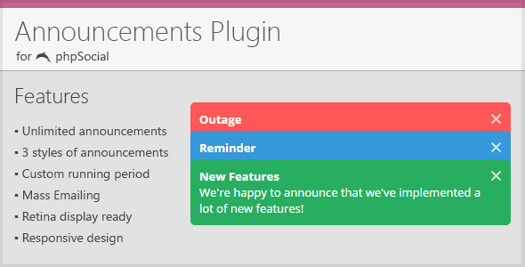 Announcements Plugin for phpSocial - CodeCanyon Item for Sale