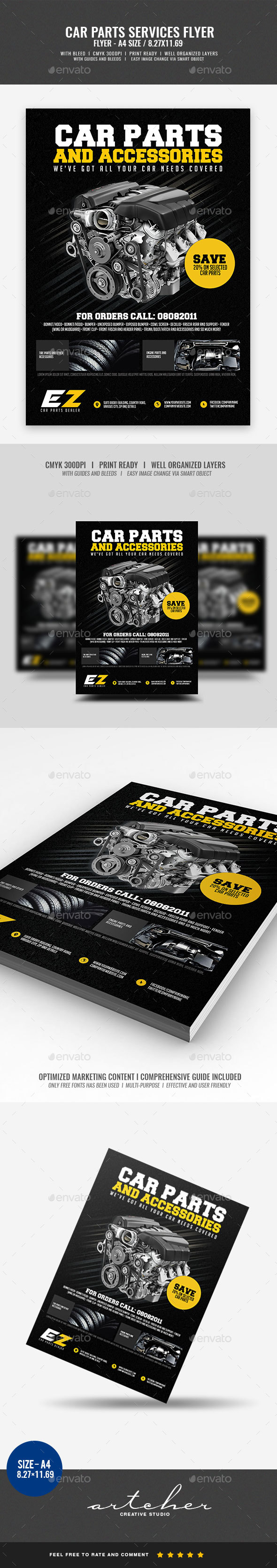Car Parts and Accessories Flyer v2 - Commerce Flyers
