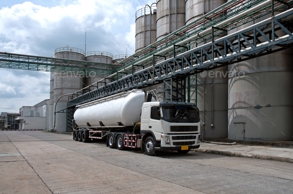 Tanker, Truck Delivery Danger Chemical in Petrochemical Plant - Stock Photo - Images
