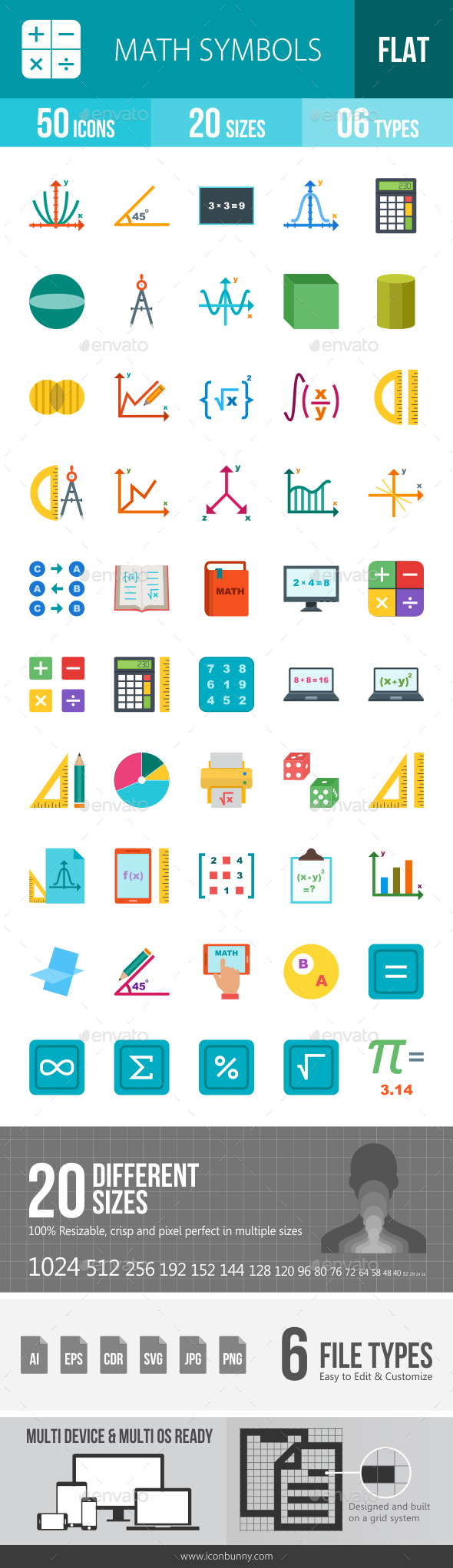 GraphicRiver Math Symbols Flat Multicolor Icons 20243042