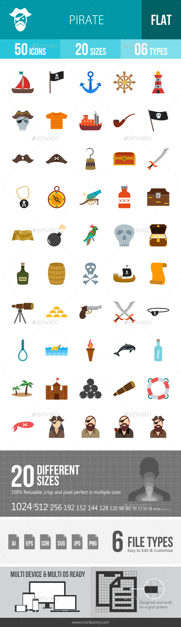 Pirate Flat Multicolor Icons - Icons