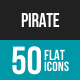 Pirate Flat Multicolor Icons