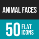 Animal Faces Flat Multicolor Icons