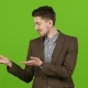 Guy Cute Leading Advertises Quality Goods for People. Green Screen