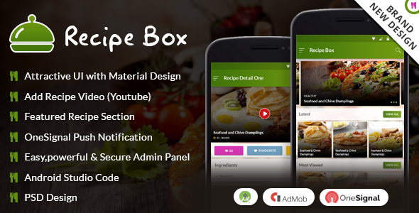 Recipe Box With Material Design - CodeCanyon Item for Sale