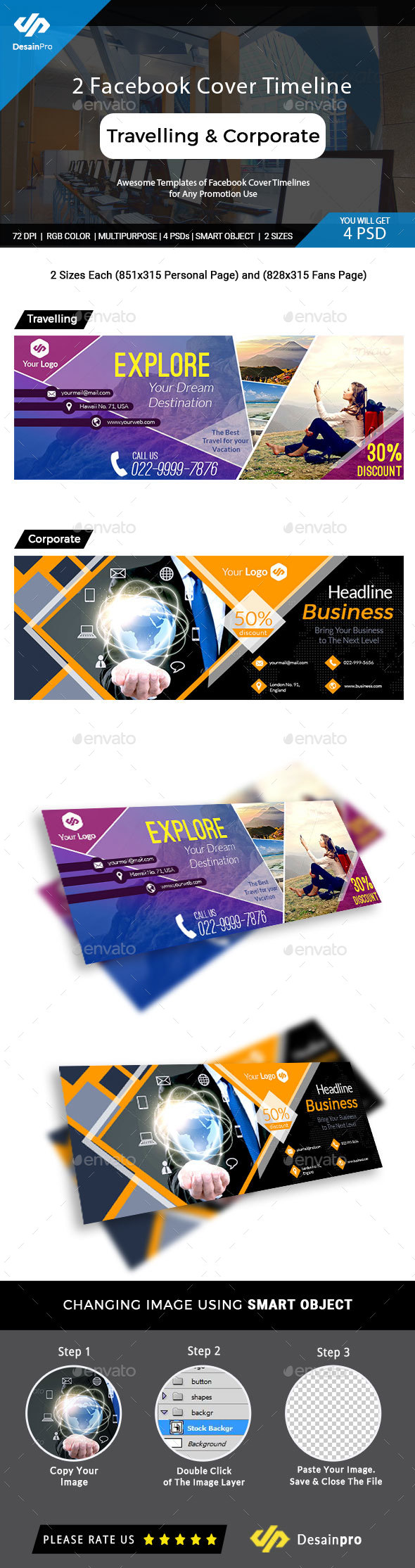 GraphicRiver 2 Facebook Cover Travelling and Corporate Business 20243190