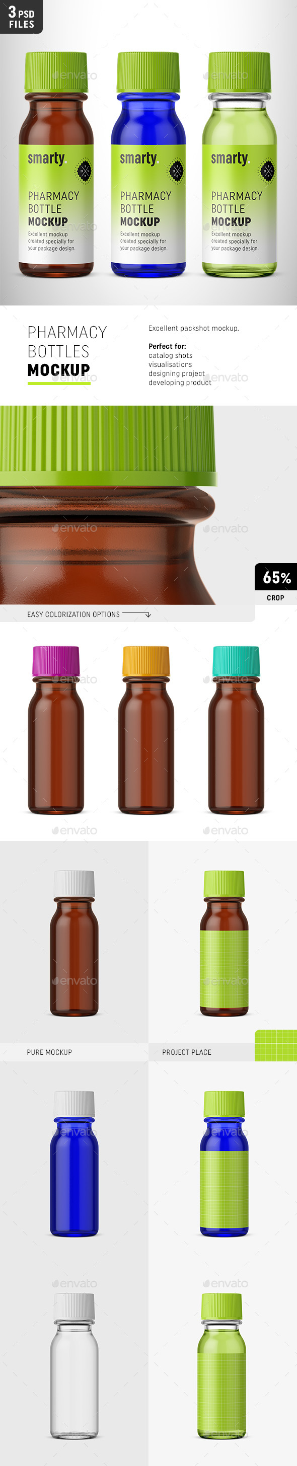 Pharmacy Bottles Mockup - Packaging Product Mock-Ups
