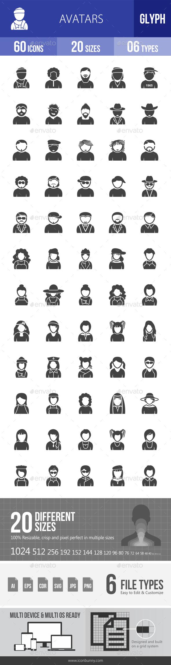 Avatars Glyph Icons - Icons
