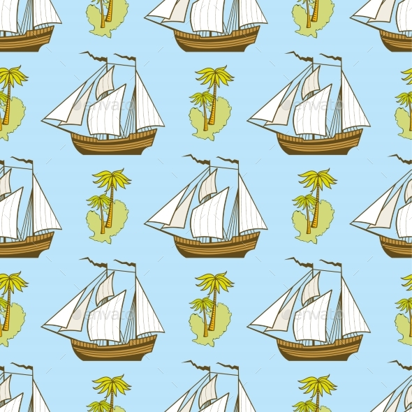 Seamless Pattern with Ship, Palms and Island - Miscellaneous Vectors