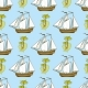 Seamless Pattern with Ship, Palms and Island
