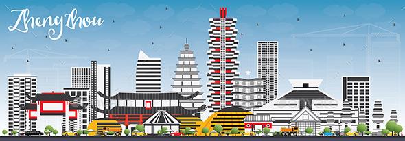 Zhengzhou Skyline with Gray Buildings and Blue Sky. - Buildings Objects