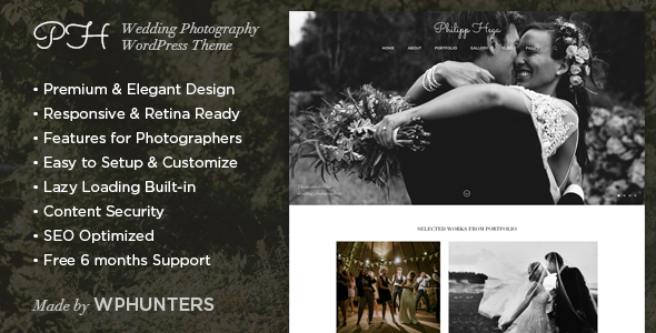 Download PH - Responsive Wedding Photography WordPress Theme