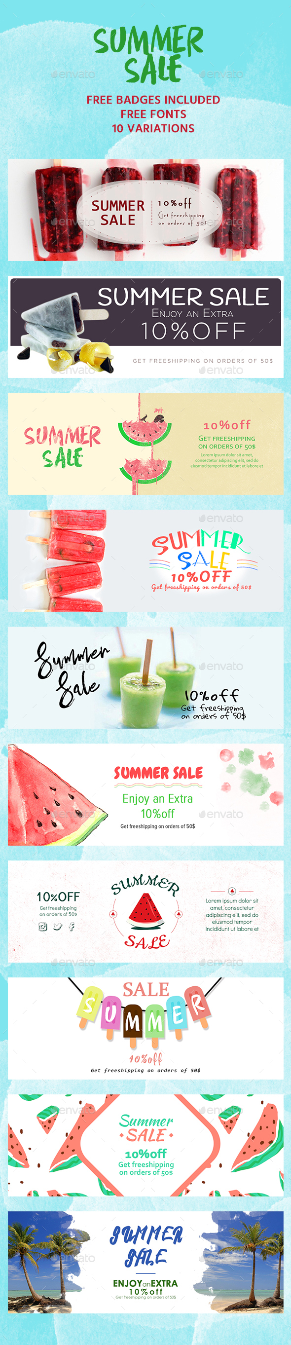 Summer Sale Banners - Banners & Ads Web Elements