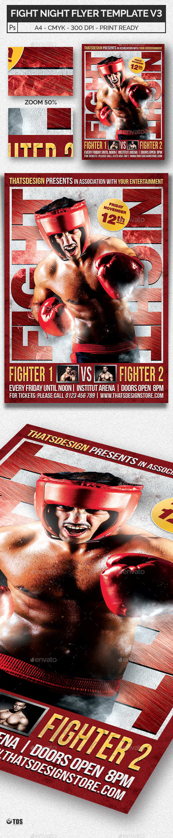 Fight Night Flyer Template V3 - Sports Events