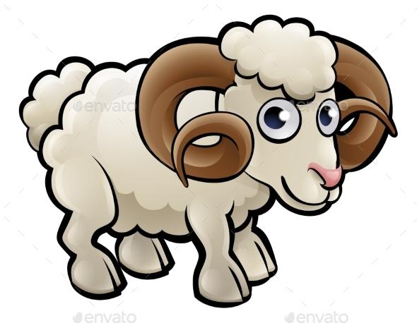 GraphicRiver Ram Farm Animals Cartoon Character 20244225