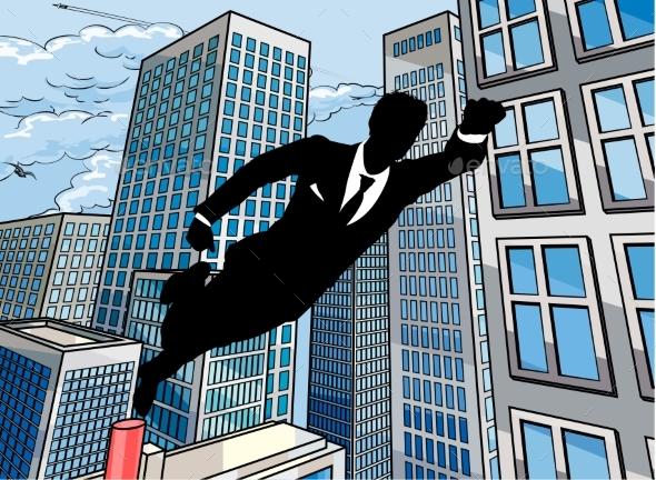 Superhero Businessman - People Characters