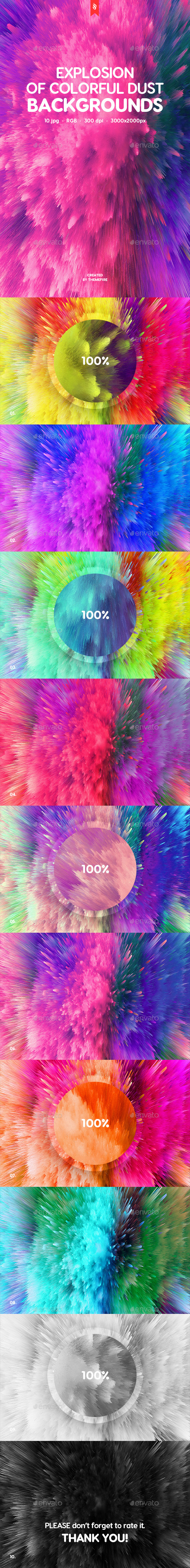 Explosion of Colorful Dust Backgrounds - Abstract Backgrounds
