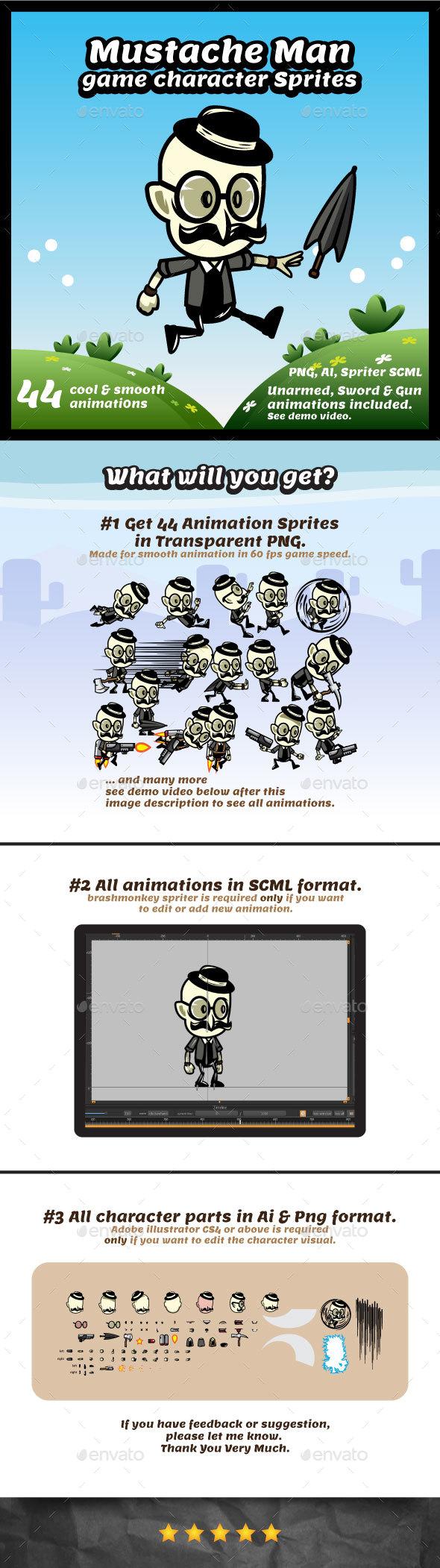 GraphicRiver Mustache Gentleman Game Character Sprites 20244322