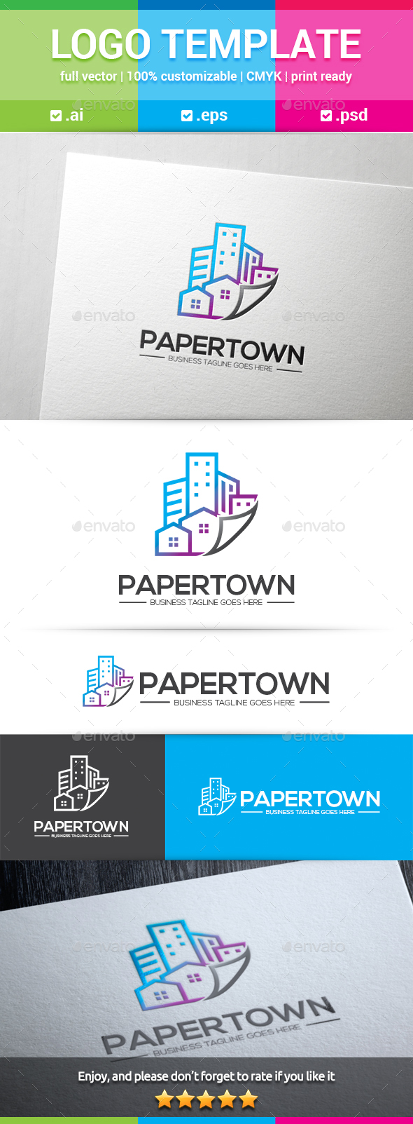 Paper Town Logo - Buildings Logo Templates