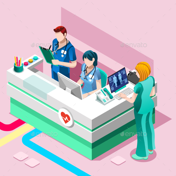 Hospital Nurse Station Vector Isometric People Medical Team - Vectors
