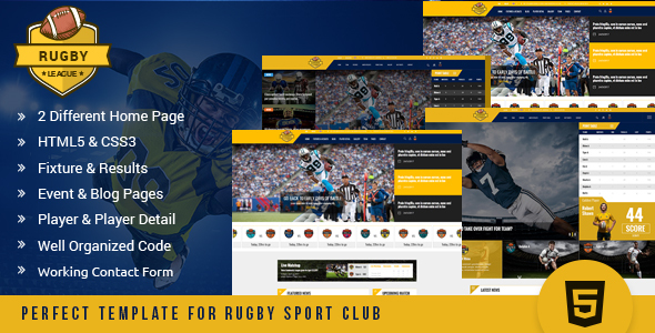 Rugby League HTML Template