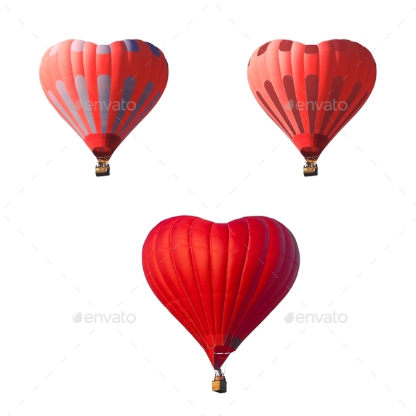 Red Air Balloons Set In The Shape Of A Heart Isolated On A White