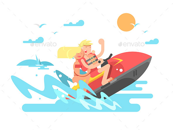 Couple on Hydrocycle - Sports/Activity Conceptual
