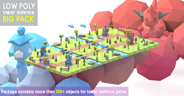 3DOcean Low Poly tower defence big pack 20244745