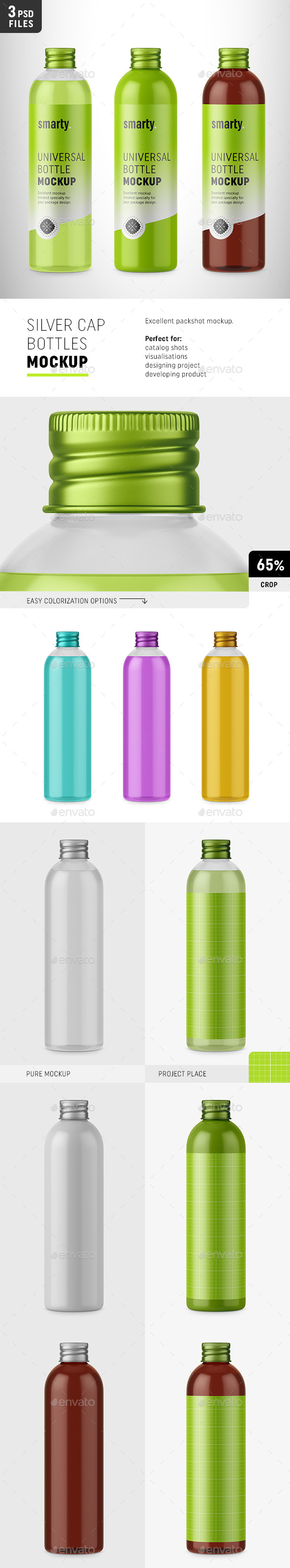 Bottles with Silver Cap Mockup - Packaging Product Mock-Ups