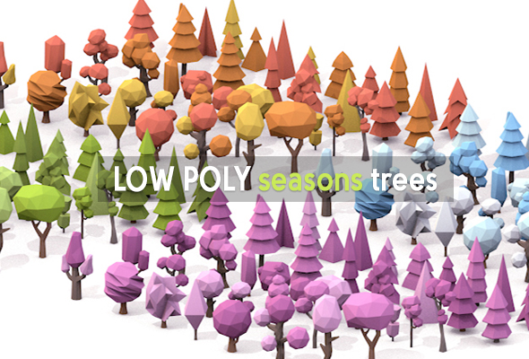 Low Poly seasons trees - 3DOcean Item for Sale