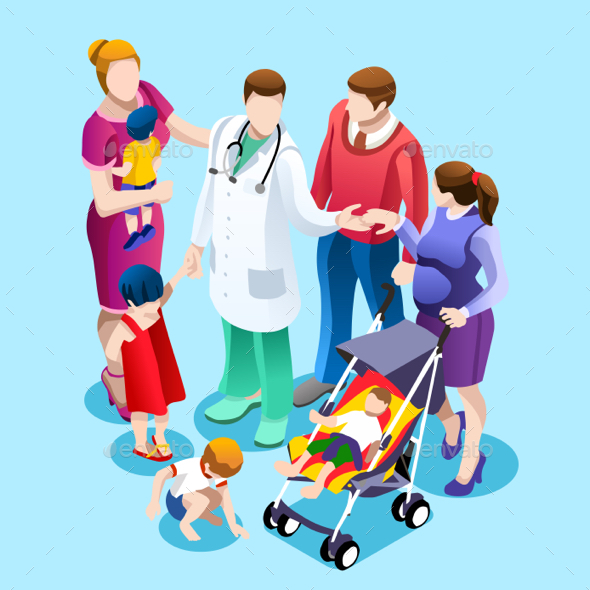 Family Doctor Talking with Patients Vector Isometric People - Vectors