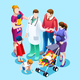 Family Doctor Talking with Patients Vector Isometric People - GraphicRiver Item for Sale