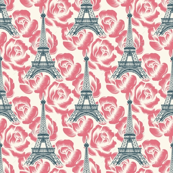 Vintage Eiffel Tower Seamless Pattern - Miscellaneous Vectors