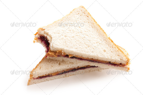 peanut butter and jelly sandwich - Stock Photo - Images
