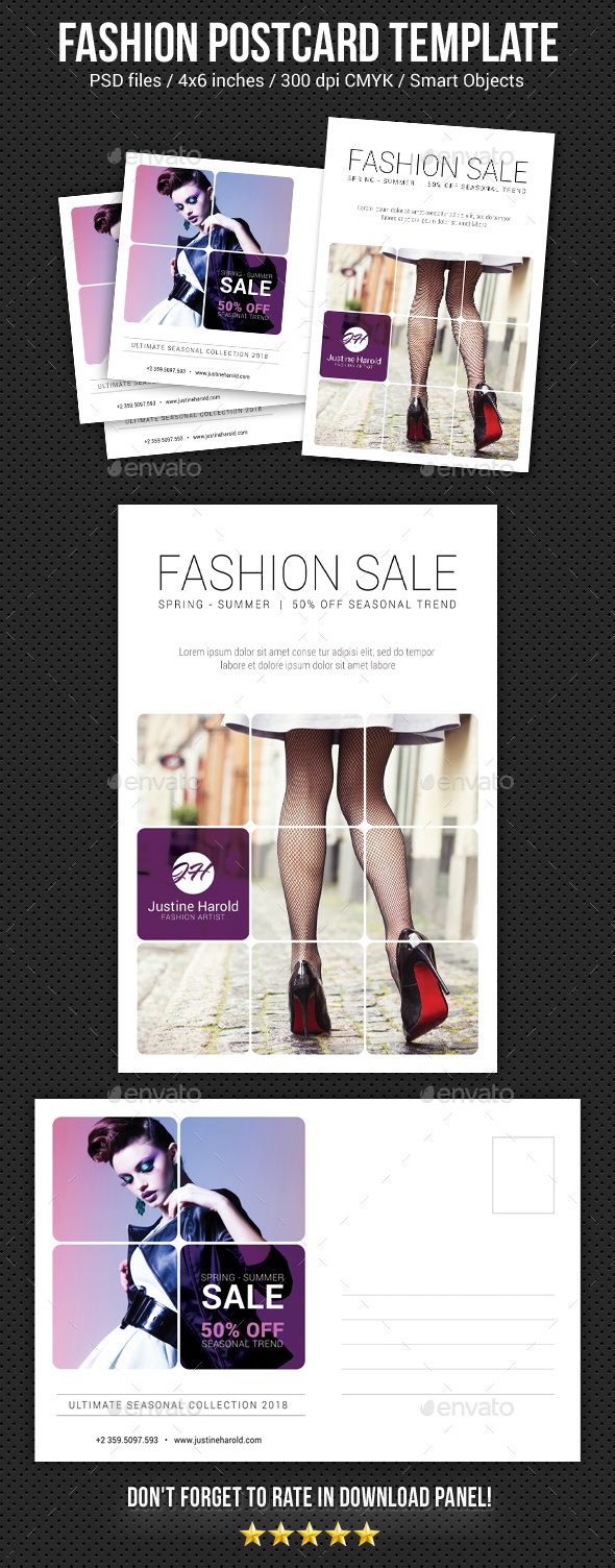 Fashion Postcard Template 5 - Cards & Invites Print Templates