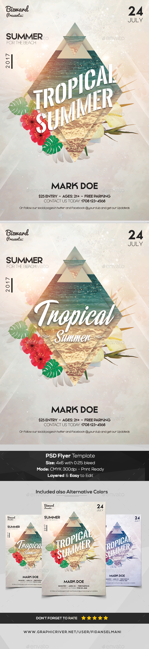 Tropical Summer - PSD Flyer Template - Events Flyers