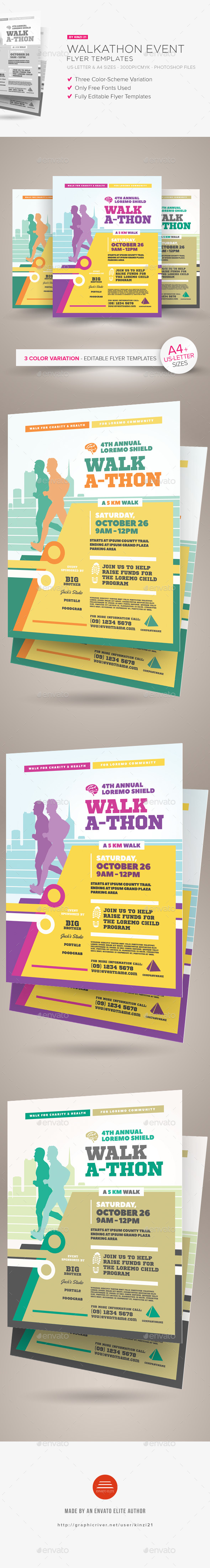 Walkathon Event Flyer Templates - Sports Events