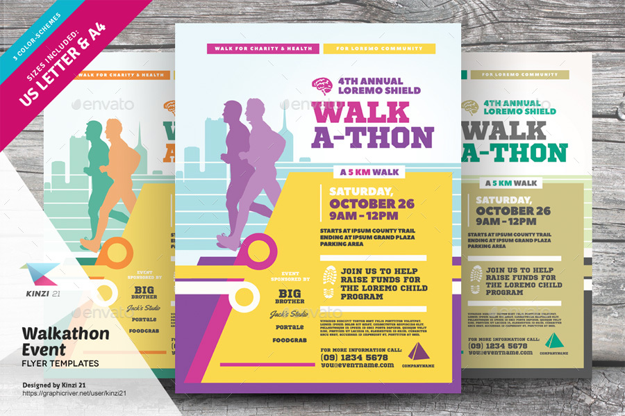 Walkathon Event Flyer Templates By Kinzi  Graphicriver