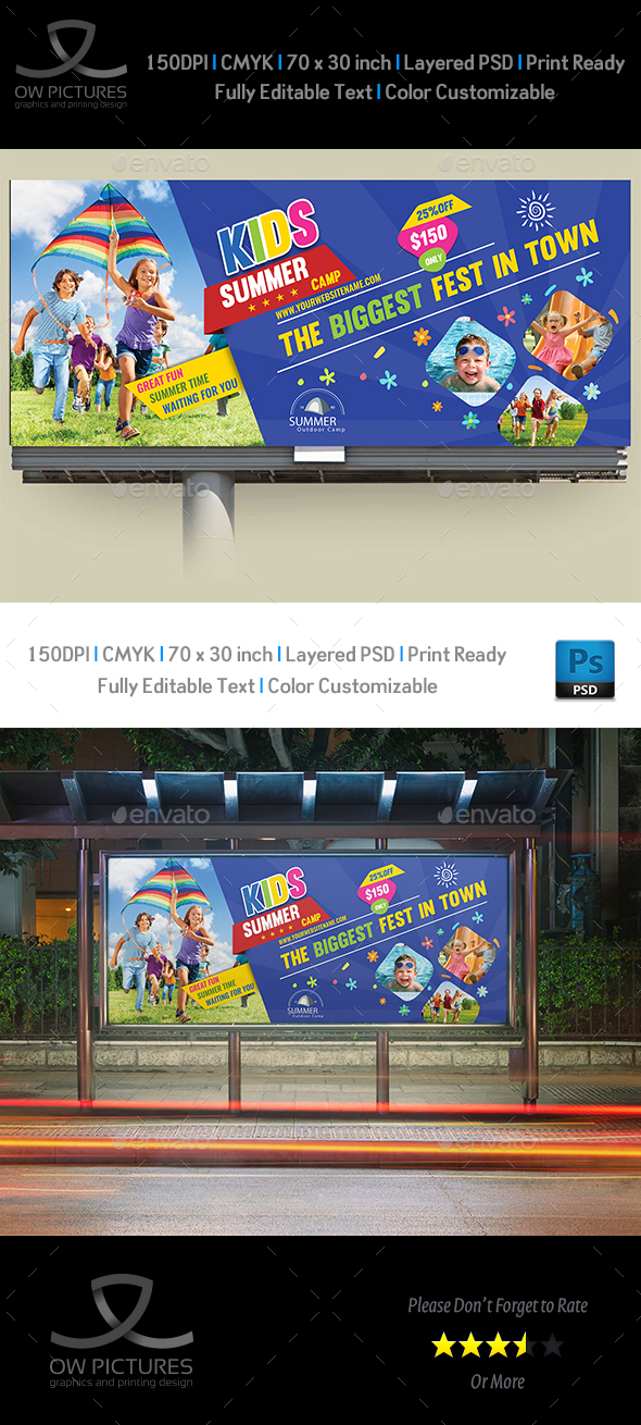 Kids Summer Camp Billboard Template - Signage Print Templates