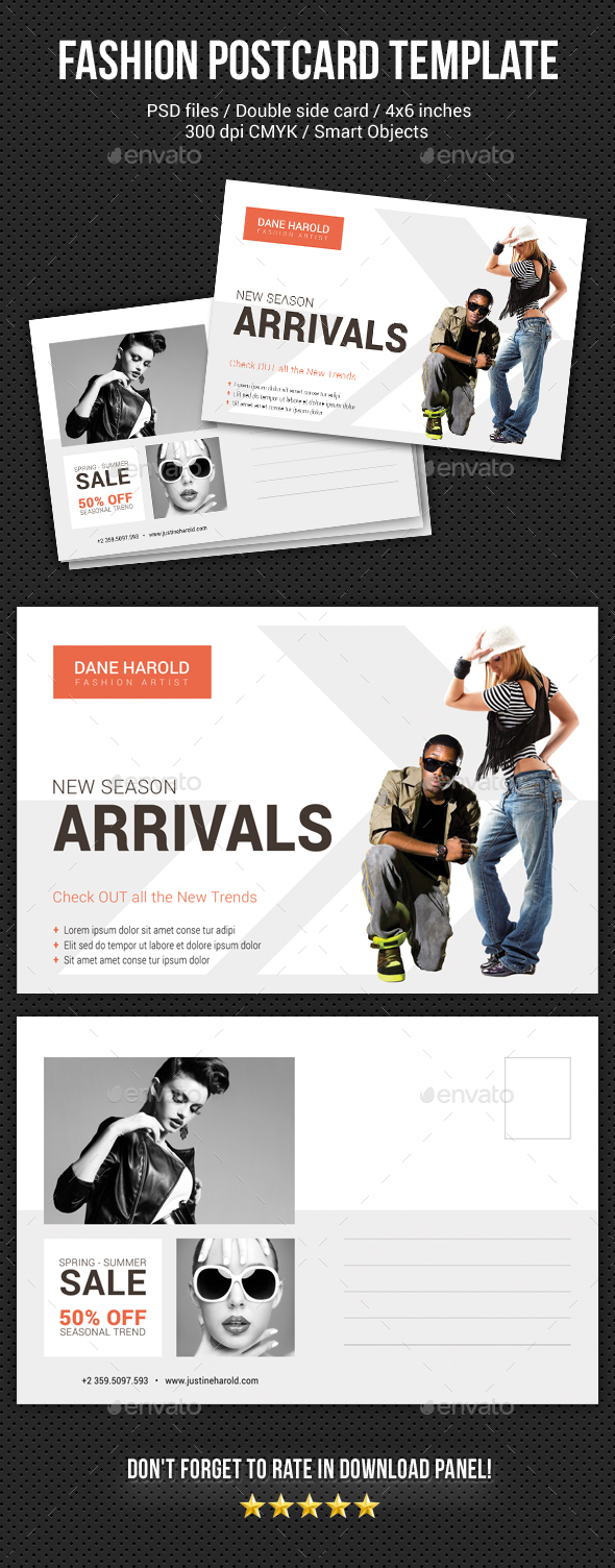 Fashion Postcard Template 6 - Cards & Invites Print Templates