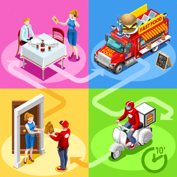 Fast Food Truck Hamburger Home Delivery Vector Isometric People - Food Objects