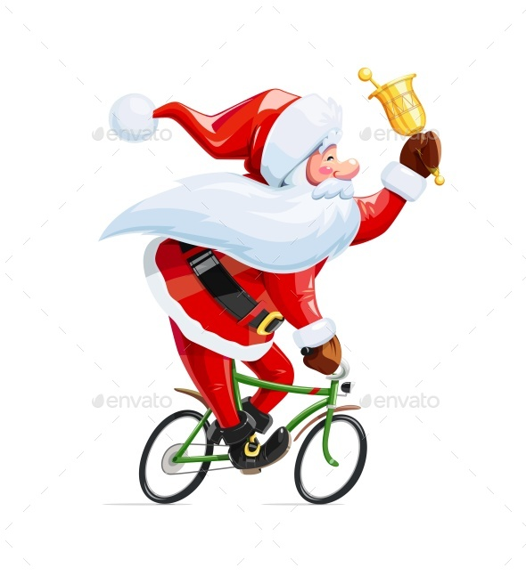 Santa Claus with Bell at Bicycle