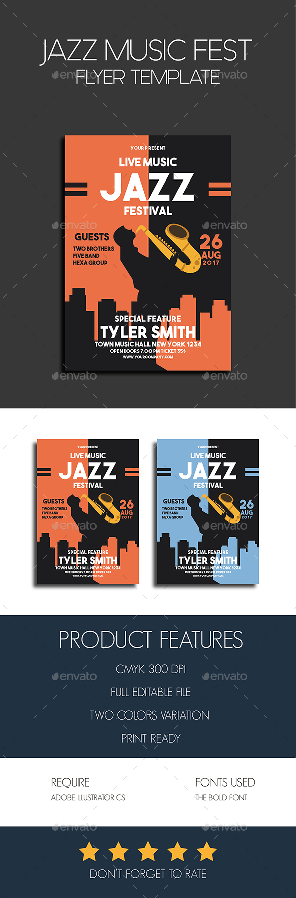 Jazz Music Fest Flyer Template - Events Flyers